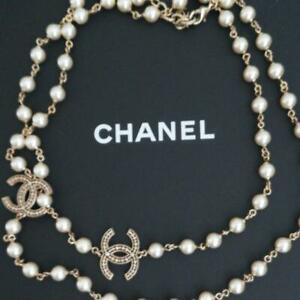 Auth CHANEL CC Logo Charm Long White Pearl Necklace Gold Used form Japan F/S