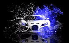"Bugatti (Blue and Black Splash)  24 x 36"" Poster"