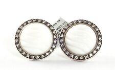 DAVID YURMAN Silver White Quartzite Diamond Cable Button Earrings Sterling .925