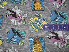 DOCTOR WHO A MADMAN IN A BOX TARDIS BBC on COTTON FABRIC Priced By The YARD