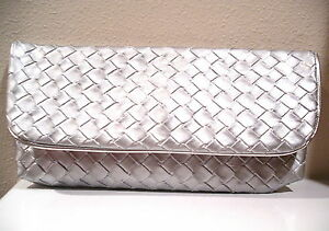 New Silver Weave Evening Cosmetic Clutch Bag Estee Lauder Make Up Case