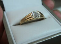 Attractive 14ct Yellow Gold Diamond Cluster Ring  - size S
