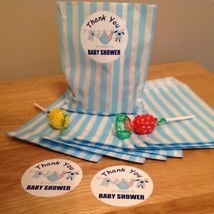 18 Baby shower stickers & 18 Paper Bags, Favours  For Boy or Girl Blue or Pink