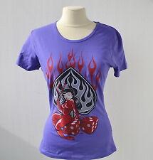 Damen T-Shirt S-XL Sexy Devil Rockabilly Old School Vintage Lila