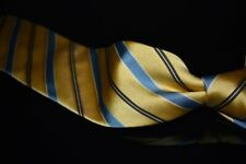 Brioni Made Italy Thick Lemon Yellow Gloss Satin Blue Grosgrain Stripe Silk Tie