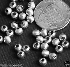 100 Anitque silver round brush beads 4mm