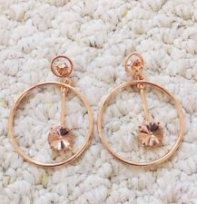Oscar De La Renta Rose Gold Ring Beige Crystal Earrings Signed