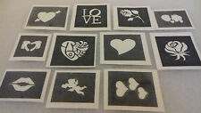 30 x Valentine theme mini small stencils for etching on glass etch  love hearts