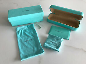 Tiffany & Co Hard Clamshell Eyeglass Case, Pouch & Cleaning Cloth NEW