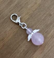 Rose Quartz Guardian Angel Clip On Charm, Great Gift