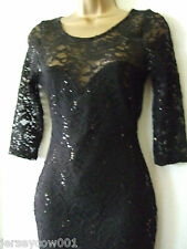 NEW £45 *** SALE *** JANE NORMAN SIZE 8 BLACK LACE & SEQUIN 3/4 SLEEVE DRESS