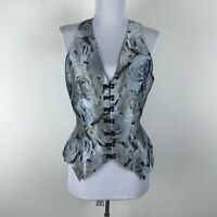Carol Peretz Vest Size 8 Floral Roses Silver Beaded Silk Womens