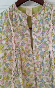 VTG 60s/70s Girls Quilted Floral Lime Green Retro Ruffle Bathrobe Pajama  Sz 7