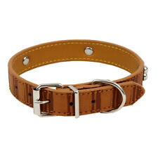Safari Light Brown Leather Dog Collar w/ Bone Studs Medium Breed