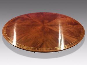 CMC 7.3ft Amazing Sunburst Flame mahogany Oval Grand dining table.