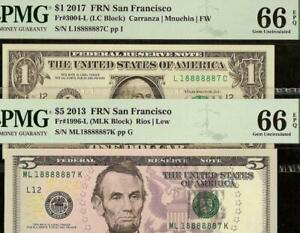 2 MATCHING LUCKY NUMBER 18888887 $1 & $5 DOLLAR FEDERAL RESERVE NOTES PMG 66 EPQ