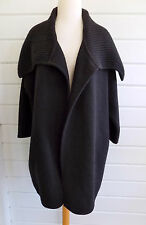 VINCE black wool coat huge ribbed shawl collar no fastener-Gorgeous!-Sz.S-EUC!