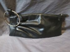Women's Aldo Solid Black Faux Leather Cinched Side Clutch Wallet Silver Ring