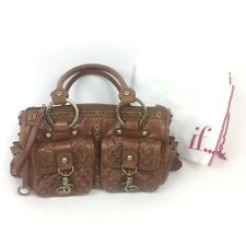Isabella Fiore Brown Leather Purse Handbag Woven / Tassels Dustbag Retail $525
