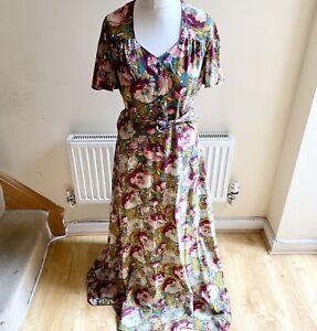 Vintage Windsmoor Floral Print Long Maxi Dress 1970's Cottagecore Boho Size 12
