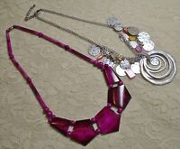 VINTAGE TO NOW PINK SHELL BEADED SILVER TONE BOHO NECKLACE LOT