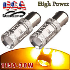 2x Amber/Yellow 1157 BAY15D High Power 30W Turn Signal LED Light Bulbs