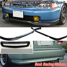 TR Style Front + TR Style Rear Lip (PU) + Grill (Mesh) Fit 96-98 Civic 2dr