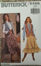 BUTTERICK MISSES VEST BLOUSE SKIRT PATTERN 6488 SIZE 6-8-10 From 1992