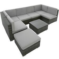 Poly de ratán muebles de jardín grupo de asientos juego de Lounge 6 escaños + taburete gris