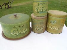 RARE VINTAGE CAKE TIN CAN,CANISTER SET TIN CANS SET