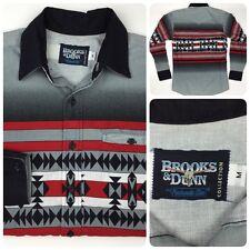 NICE Brooks & Dunn Men's Red Black Gray Pattern Western Shirt Medium