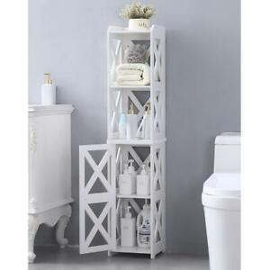 Bathroom Narrow Cabinet Side Table 4 Tier Shelf Home Display Towel Storage Rack