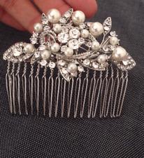 Vintage Silver Rhinestone Pearl Wedding HAIR COMB Bridal headpiece Clear