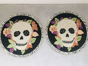 """2 Halloween Cynthia Rowley Beaded Sugar Skulls Day 15"""" Round Placemats Charger"""
