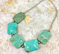 Turquoise Big and Bold Stone Statement Necklace with Silver Beads- New