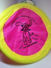 "Pet Trends Soft Flying Nylon Disc Dog Toy 10"" diameter NEW Neon pink/yellow NWT"
