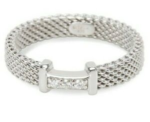 Tiffany & Co AG 925 Sterling Silver Somerset Mesh 3 Diamond Band Ring Size17.5mm