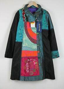 RRP€249 DESIGUAL ABRIG LADY BLUE Women EU 40 / L Embroidery Abstract Coat 20590*
