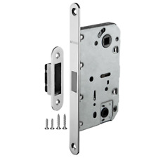 Mortise Door Passage/Privacy Lock Body w/ Silent Magnetic Latch, Polished Chrome
