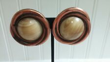 Vintage Textured Solid Copper Faux Marble Plastic Cabochon Disk ClipOn Earrings
