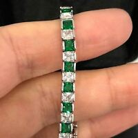 Sparkling Princess Cut Green Emerald Tennis Bracelet 14K White Gold Plated Gift