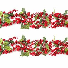 Christmas Garland Home Tree Decoration: Red Berries Berry & Holly Leaves 1.5m