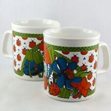 "Vintage MUGS (x2)Faïence STAFFORDSHIRE ""Coccinelles"" Kiln Craft/ladybug/England"