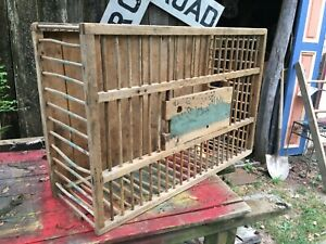 """VTG LARGE 35""""x23""""x9.5"""" PRIMITIVE WOODEN WOOD CHICKEN CRATE CARRIER BOX CAGE COOP"""