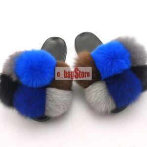 2020 Women's Real Fox Fur Pom Pom Slippers Slides Slipper Fluffy Shoes Sandals