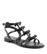 NIB Michael Kors Veronica Caged Patent Leather Flat Sandals Black Women s  Size 9 a86be44ecbf