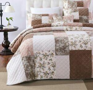 DaDa Bedding Cottage Patchwork Rose Pale Mauve Pink Beige Floral Bedspread Set