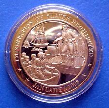 1808 Prohibition of Slave Importation - Franklin Mint Solid Bronze Medal