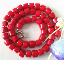 Tibet Red Coral Large Cylinder Beads 18KWGP Clasp Women Lady Girl Party Necklace