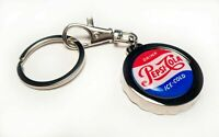PEPSI COLA Soda Bottle Cap Opener Key Chain / Key Ring Handmade Vintage Logo